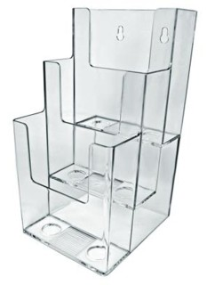 CH803 Multiple Pocket Acrylic and Plastic Brochure and Literature Holders, Plexi, plexiglass, plexiglas, lucite