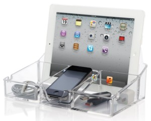 Acrylic Electronics Docking and Charging Station for SmartPhones, Cell phones and Tablets
