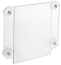 Acrylic Sign Holder with Suction Cups for Glass Window Mounting