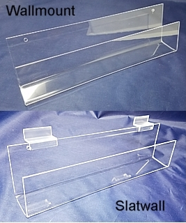 Clear Acrylic wallmount and slatwall J-Rack shelves and card rack shelving in Plexiglas, PlexiGlass, Lucite, and plexi