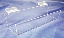 Acrylic and plastic slatwall  and Wallmount J-Rack shelves and shelving, Plexiglas, PlexiGlass, Lucite, plexi